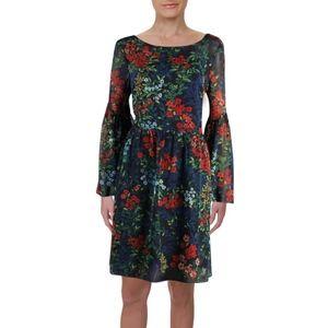 Ralph Lauren Bell Sleeve Navy A-Line Floral Dress